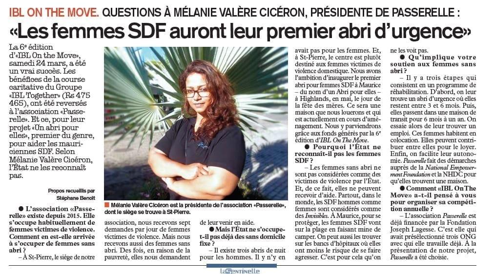 Questions à Mélanie Valère Cicéron, présidente de Passerelle